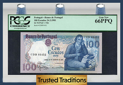 TT PK 178b 1981 PORTUGAL 100 ESCUDOS PCGS 66 PPQ GEM NEW POP ONE FINEST KNOWN