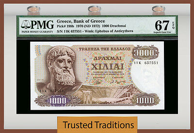 "TT PK 198b 1970 GREECE 1000 DRACHMAI ""ZEUS"" PMG 67 EPQ SUPERB GEM FINEST KNOWN"