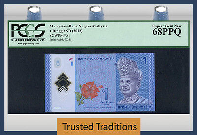 "Tt Pk 51 2012 Malaysia 1 Ringgit ""t. A. Rahman"" Pcgs 68 Ppq Only 1 In This Level"