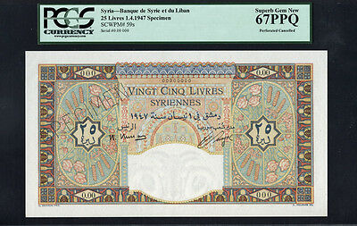 TT PK 59s SYRIA 1947 25 LIVRES RARE SPECIMEN PCGS 67 PPQ SUPERB GEM FINEST KNOWN