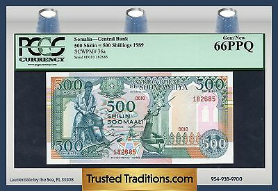 TT PK 36a 1989 SOMALIA CENTRAL BANK 500 SHILIN PCGS 66 PPQ GEM NEW FINEST KNOWN