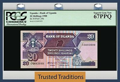 TT PK 29b 1988 UGANDA 20 SHILLINGS PGCS 67 PPQ SUPERB GEM NEW POPULATION OF ONE