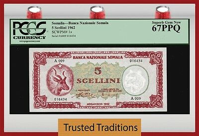 TT PK 1a 1962 SOMALIA 5 SCELLINI = 5 SHILLINGS PCGS 67 PPQ SUPERB GEM NONE FINER
