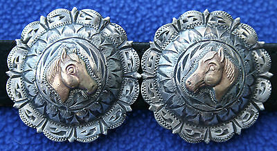Vintage Sterling Silver Gold Horsehead Western Bridle Headstall Rosettes Conchos