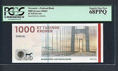 "TT PK 69a 2011 DENMARK 1000 KRONER ""GREAT-BELT BRIDGE"" PCGS 68 PPQ TOP POP!"