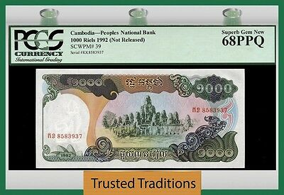 Tt Pk 39 1992 Cambodia 1000 Riels Pcgs 68 Ppq Superb Gem New Population One