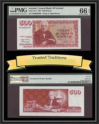 TT PK 51a 1961 ICELAND 500 KRONUR PMG 66 EPQ 1 OF 2 SEQUENTIAL SERIAL NUMBER