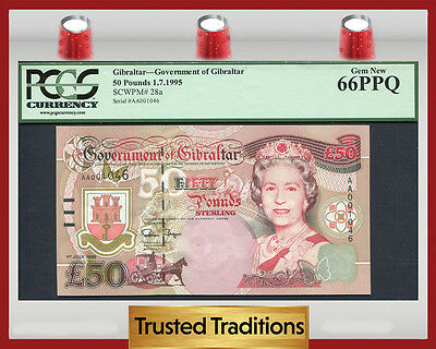 "TT PK 28a 1995 GIBRALTAR 50 POUNDS ""QUEEN ELIZABETH II"" PCGS 66 PPQ GEM NEW!"