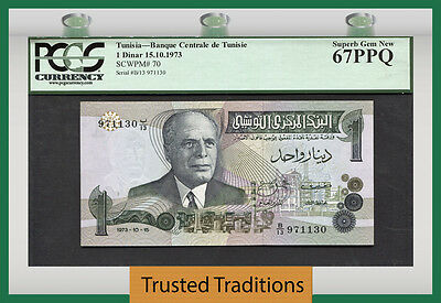 Tt Pk 70 1973 Tunisia 1 Dinar Pcgs 67 Ppq Superb Gem New Highest Grade!