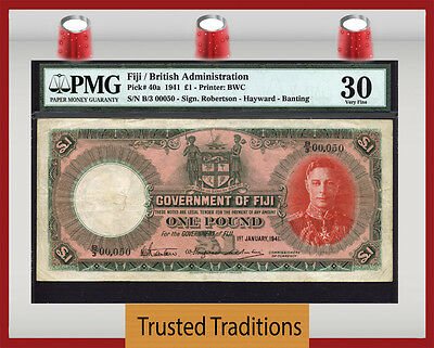 "TT PK 40a 1941 FIJI 1 POUND LOW SERIAL # 50 ""KING GEORGE VI"" PMG 30 VERY FINE"