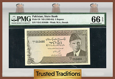 Tt Pk 38 1983-84 Pakistan 5 Rupees Pmg 66 Epq Gem Pop One Finest Known!
