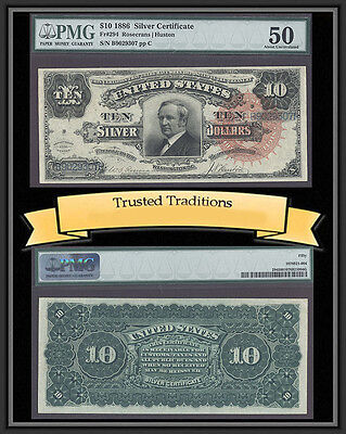 """Tt Fr 294 1886 $10 Silver Cert """"tombstone"""" Scarce Large Red Seal Pmg 50 Pop 2"""