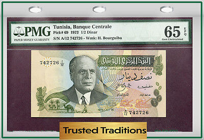 Tt Pk 69 1973 Tunisia 1/2 Dinar Pmg 65 Epq Gem Uncirculated Population One