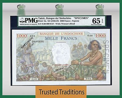 "TT PK 15s ND 1940-57 TAHITI 1000 FRANCS ""SPECIMEN"" PMG 65 EPQ GEM UNCIRCULATED"