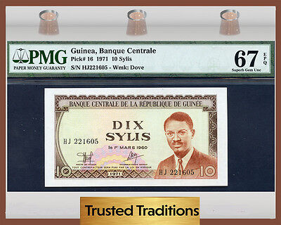Tt  Pk 16 1971 Guinea 10 Sylis Pmg 67 Epq Superb Gem Uncirculated Finest Known