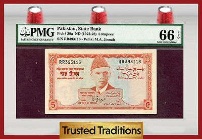 TT PK 20a 1972-78 PAKISTAN 5 RUPEES PMG 66 EPQ GEM POP ONE FINEST KNOWN!