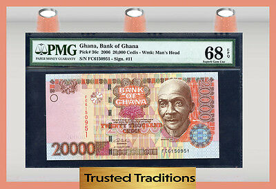 TT PK 36c 2006 GHANA 20000 CEDIS PMG 68 EPQ SUPERB GEM NEW FINEST KNOWN