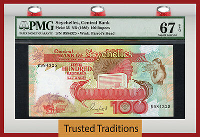 Tt Pk 35 1989 Seychelles Central Bank 100 Rupees Pmg 67 Superb Gem None Finer