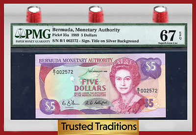 "TT PK 35a 1989 BERMUDA 5 DOLLARS ""QUEEN ELIZABETH II"" PMG 67 EPQ POP TWO 1 OF 2!"