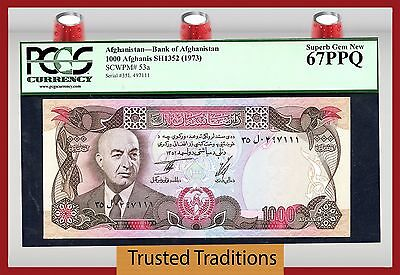 TT PK 53a 1973 AFGHANISTAN 1000 AFGHANIS PCGS 67 PPQ POP ONE FINEST KNOWN