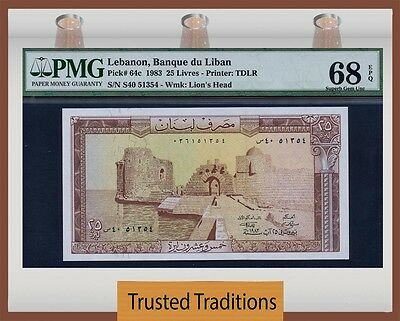 TT PK 64c 1983 LEBANON 25 LIVRES PMG 68 EPQ SUPERB GEM UNC POPULATION OF TWO!