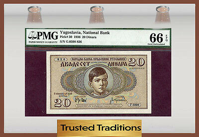 Tt Pk 30 1936 Yugoslavia 20 Dinara Pmg 66 Epq Gem Uncirculated Pop Three!