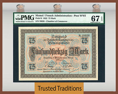 Tt Pk 8 1922 Memel / French Administration - Post Wwi 75 Mark Pmg 67 Epq Superb!