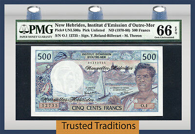TT PK UNL500a 1970-80 NEW HEBRIDES 500 FRANCS PMG 66 EPQ GEM UNCIRCULATED