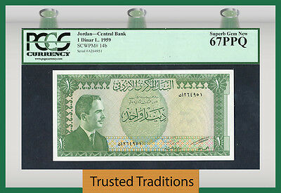 TT PK 14b 1959 JORDAN CENTRAL BANK 1 DINAR PCGS 67 PPQ SUPERB GEM NEW NONE FINER