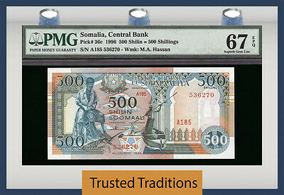 TT PK 36c 1996 SOMALIA CENTRAL BANK 500 SHILIN PMG 67 EPQ SUPERB POPULATION ONE