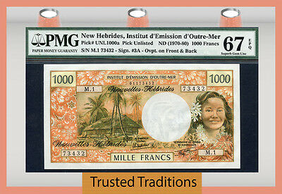 TT PK UNL1000a 1970-80 NEW HEBRIDES 1000 FRANCS PMG 67 EPQ SUPERB GEM