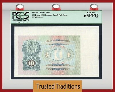 TT PK 68p 1940 ESTONIA 10 KROONI PROGRESS PROOF FULL COLOR PCGS 65 PPQ GEM NEW