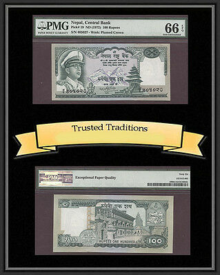 Tt Pk 19 1972 Nepal 100 Rupees Pmg 66 Epq Superb Gem Unc. Pop Three None Finer!