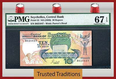 Tt Pk 32 1989 Seychelles Central Bank 10 Rupees Pmg 67 Epq Pop One Finest Known!