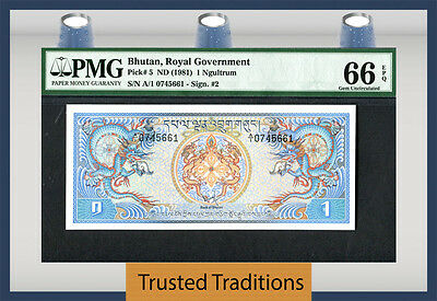 "Tt Pk 5 1981 Bhutan Royal Government 1 Ngultrum ""dragons"" Pmg 66 Epq Gem Unc"