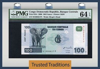 "Tt Pk 92A 2000 Congo Democratic Republic 100 Francs ""elephant"" Pmg 64 Epq"