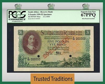 TT PK 96as 1950-52 SOUTH AFRICA 5 POUNDS SPECIMEN PCGS 67 PPQ SUPERB GEM NEW