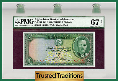 Tt Pk 22 1939 Afghanistan 5 Afghanis Pmg 67 Epq Finest Known Pop One!