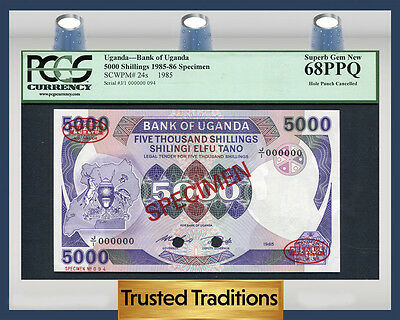 TT PK 24s 1985-86 UGANDA 5000 SHILLINGS PCGS 68 PPQ SUPERB GEM TOP POPULATION!