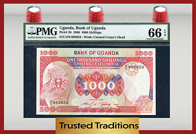 Tt Pk 26 Uganda 1,000 Shillings Pmg 66 Epq Pop One Finest Known!
