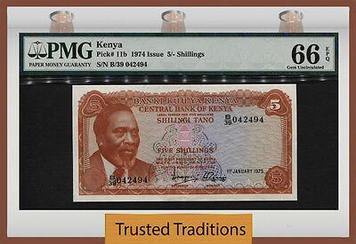 TT PK 11b 1974 KENYA 5 SHILLINGS PMG 66 EPQ GEM UNCIRCULATED POPULATION ONE