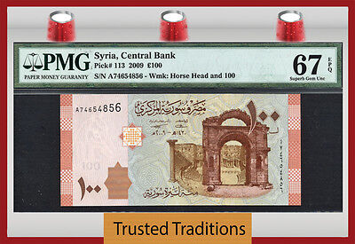 Tt Pk 113 2009 Syria 100 Pounds Horse's Head Pmg 67 Epq Superb Gem Finest Known