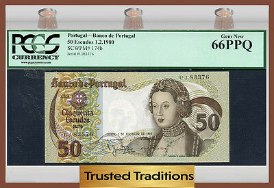 TT PK 174b 1980 PORTUGAL 50 ESCUDOS PCGS 66 PPQ GEM NEW POP THREE!