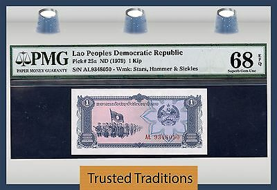 TT PK 25a 1979 LAO 1 KIP PMG 68 EPQ SUPERB GEM UNCIRCULATED FINEST KNOWN