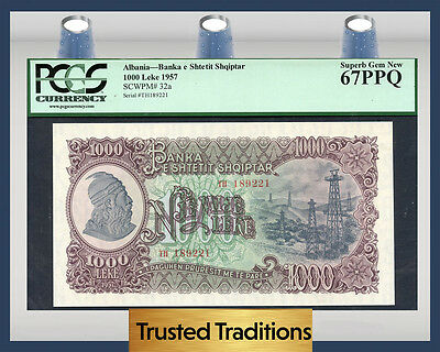 TT PK 32a 1957 ALBANIA 1000 LEKE PCGS 67 PPQ SUPERB GEM NEW NONE FINER!!