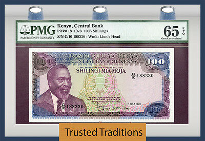 Tt Pk 18 1978 Kenya 100/ Shillings Pmg 65 Epq Gem Uncirculated