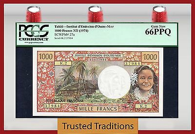 "TT PK 27a 1971 TAHITI 1000 FRANCS ""MARIANNE"" POP TWO PCGS 66 PPQ GEM NEW"