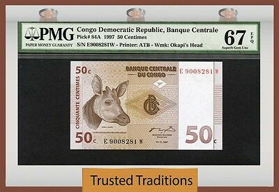Tt Pk 84A 1997 Congo Democratic Republic 50 Centimes Pmg 67 Epq Population One
