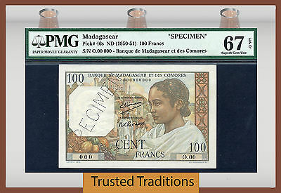 TT PK 46s 1950-51 MADAGASCAR 100 FRANCS PMG 67 EPQ ONLY EXAMPLE EVER KNOWN!