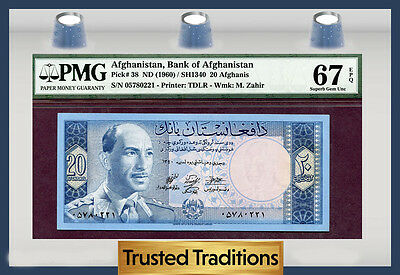 Tt Pk 38 1960 Afghanistan 20 Afghanis Pmg 67 Epq Pop One Finest Known!